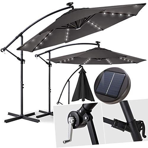 Kesser® Alu Ampelschirm Ø 300 cm✔LED ✔mit An-/Ausschalter ✔Solarpanel ✔ Kurbelvorrichtung ✔UV-Schutz ✔Aluminium ✔Wasserabweisende Bespannung - Sonnenschirm Schirm Gartenschirm Marktschirm Grau