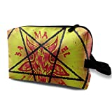 Cosmetic Bag for Women Head A Horned Goat and Pentagram Organizer with Zipper