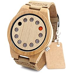 FunkyTop Creative Men's 12 Holes Design Bamboo Wooden Watches Brown Leather Band Japanese Quartz Movement