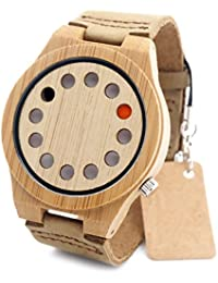 Rtimer - Reloj de pulsera de cuarzo japonés para hombre, madera de bambú y piel de color marrón, diseño creativo con 12 orificios