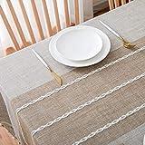 Furnily Rechteck Dekoration Tischdecke 140 cm x 200cm Baumwolle Leinen elegante Tischdecke mit Quaste Edge Staubdichte waschbare Küchentischabdeckung für Speisetisch (Leinen) - 2