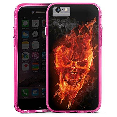 Apple iPhone X Bumper Hülle Bumper Case Glitzer Hülle Skull Totenkopf Feuer Bumper Case transparent pink