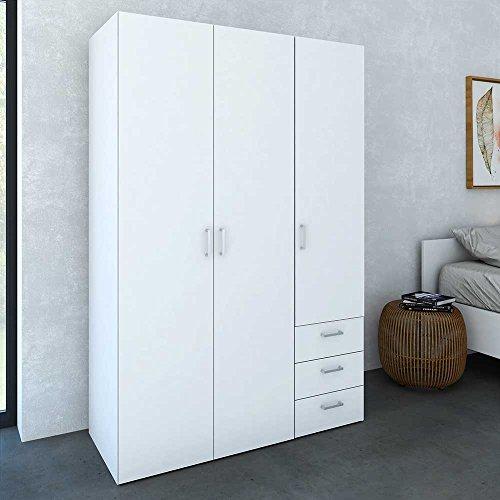 Pharao24 Schlafzimmer Kleiderschrank in Weiß 3 türig Höhe 176 cm