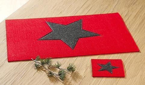 4 x Platzset rechteckig Filz rot m. dunkelgrauem Stern Länge 45 cm, Weihnachten, Untersetzer