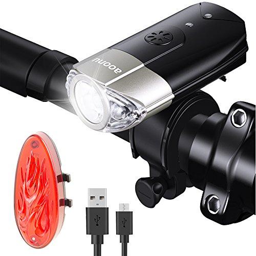 LED Fahrradbeleuchtung, Aoonu Wiederaufladbar Fahrradlicht Frontlicht und Rücklicht Fahrradlampen, IP65 Wasserdicht,Aufladbar 2000mAh Batterie, 1200 Lumen Akku Led Fahrrad, 3 Led Licht Set Modi mit 1USB Aufladbare Kabel für Fahrrad licht