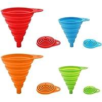 Paquet de 4 entonnoirs pliables en silicone, entonnoir flexible/pliable/de cuisine pour bouteille d'eau Transfert de…