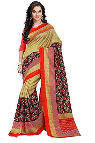 BuyOnn Women's Multi Colour Bhagalpuri Art Silk Printed Party Wear Saree With Unstitched Blouse Piece,Free Size  available at amazon for Rs.315
