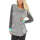 ESAILQ Frau Langarm-Bluse Tunika Sweatshirt Pullover Shirt(M,Blau)