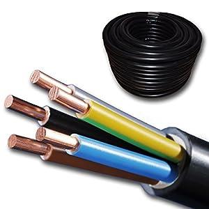 Starkstromkabel - NYY-J 5x6 mm² - Kunststoff Erdkabel - 25m / 25 m / 25 meter - schwarz