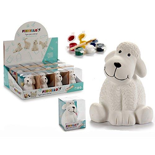 Hucha Perro para Pintar, 10,4 x 10 x 13 cms, con 6 Colores y un Pincel, 1 Unidad