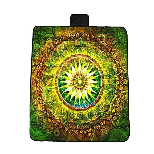 EUCoo 3D-Digitaldruck-Vollpolyester-Oxford-Tuchpicknickmatte/Strandmatte/Feuchtigkeitsmatte - GrüNe Mandala(Mehrfarbig, 148x82cm)