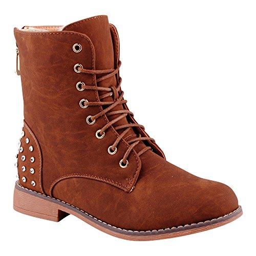 Damen Stiefeletten Schnür Boots Stiefel Warm Gefüttert Schuhe Braun/Gefüttert