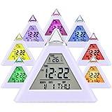 【Regalos】HAMSWAN Despertadores Reloj Despertador Melodía Navidad 8 Tonos Regalo Con la Fecha Reaciona Automáticamente Temperatura La Luz Cambinado Entre 7 Colores