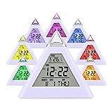 HAMSWAN Digitaler Wecker mit 7 farbwechselnden LEDs Zeigen Zeit Datum Temperatur (3xAAA Batterien...