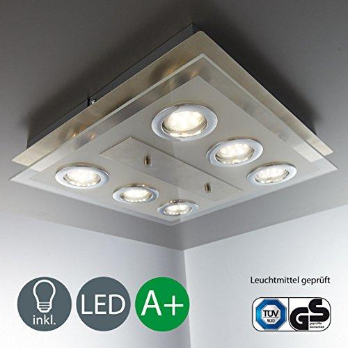 LED Deckenleuchte 6 x GU10 3W Lampe Deckenlampe LED Deckenleuchte Strahler Spots Wohnzimmerlampe eckig matt nickel