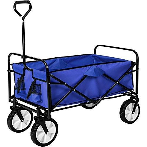 TecTake Chariot de transport à main offroad Remorque de jardin pliable | 98 x 55 x 122 (LxBxH) | -diverses couleurs au choix- (Bleu | no. 402595)