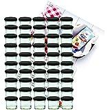 50er Set Sturzglas 125 ml Marmeladenglas Einmachglas Einweckglas To 66 schwarzer Deckel incl. Diamant-Zucker Gelierzauber Rezeptheft