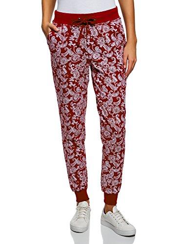 oodji Ultra Damen Jersey-Hose mit Bindebändern, Rot, DE 42 / EU 44 / XL