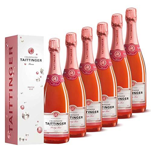 Taittinger Champagner Set 6x 0,75l Brut Prestige Rosé je in Geschenkverpackung - Champagnerset (Champagner-set Von 6)