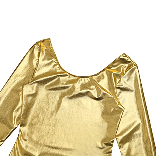 YiZYiF Damen Body Langarm Sportbody Ballett Trikot Ballettanzug Tanz-Body Gymnastik Leotard Tops Wetlook Gold