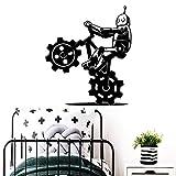yaoxingfu Robot Creativo Bicicleta Banksy Vinilo Etiqueta Autoadhesiva Wallpaper Nursery Room Decor Tatuajes de Pared para Habitaciones Decoración M43 cm X 49 cm