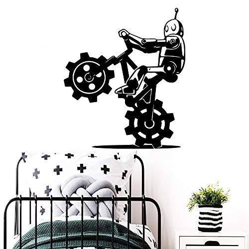 ljradj Kreative Roboter Fahrrad Banksy Vinyl Aufkleber Selbstklebende tapete Kindergarten dekorative wandtattoos raumdekoration wandbilder L 43 cm X 49 cm