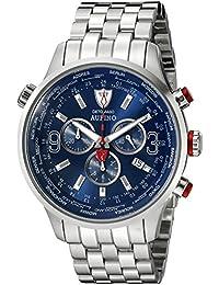 DeTomaso Aurino XXL - Reloj de cuarzo para hombres, con correa de acero inoxidable de color plateado, esfera azul