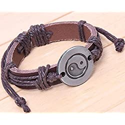 Shina Estilo chino de alta calidad de Bagua Yin Yang de cuero ajustable Nudo Personalidad cáñamo Cuerdas pulsera joyería Negro Pulseras para los regalos (Black)