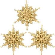 GARNECK 3pcs Christmas Tree Gold Ornaments Hanging Glitter Star Pendant Xmas Tree Star Decoration Holiday Chri