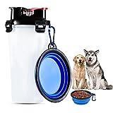 AOLVO 2-in-1, tragbar, für Futter und Wasser, für Reisen, Außenbereich, faltbar, mit Trinkflasche mit Snackbehälter, für Hunde und Katzen, Polypropylen + Silikon, White+blue, 13*9*5cm
