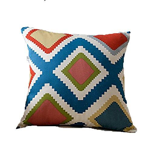 Teebxtile Coussin de camping gonflable Soft Blow-Up housse de voyage coton géométrique, 50x50cm (oreiller + oreiller, diamant