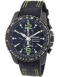 Seiko SNAE97P1 - Reloj cronógrafo de cuarzo para hombre con correa de piel, color negro
