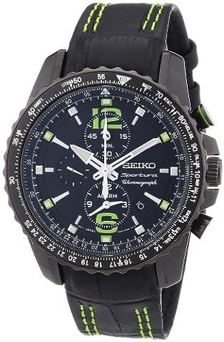 Seiko Herren-Armbanduhr XL Sportura Alarm-Chronograph Chronograph Quarz Leder