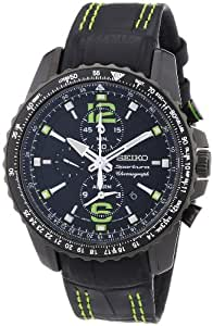 Seiko Herren-Armbanduhr XL Sportura Alarm-Chronograph Chronograph Quarz Leder SNAE97P1