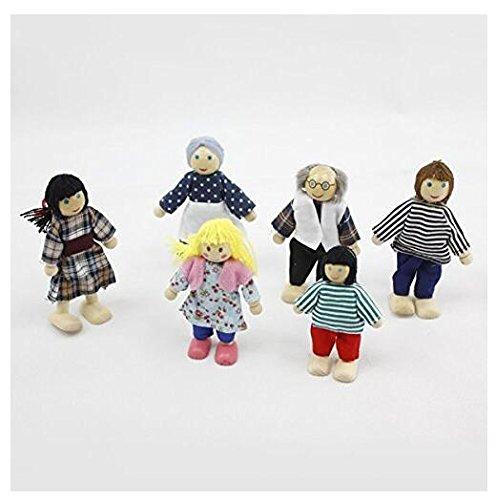 6pcs niños bebé madera muñeco marionetas