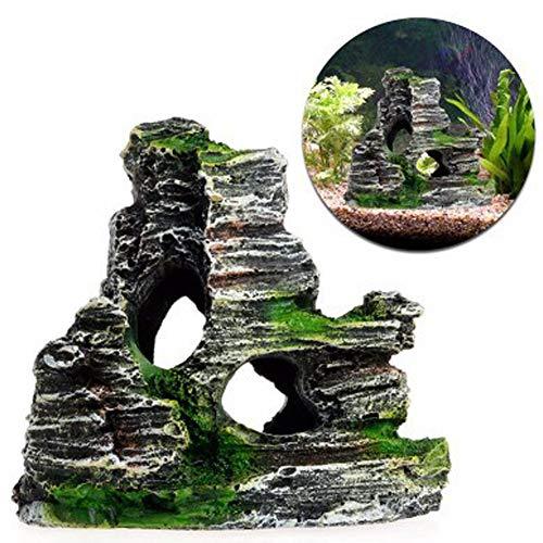 OPSLEA Aquarium Ornament Mountain View Dekor Rockery Landschaft Rock versteckt Höhlenbaum Aquarium Dekoration