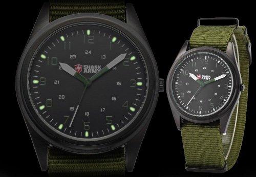 SHARK-ARMY-Black-Dial-Mens-Military-Green-Nylon-Outdoor-Sport-Quartz-Wrist-Watch-SAW039