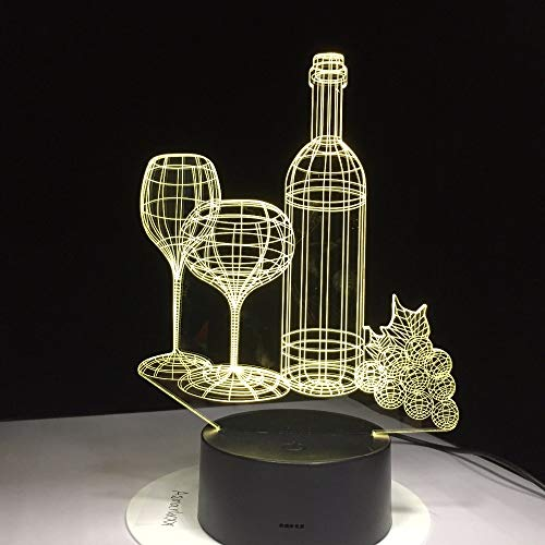 Weinglasflasche Lampe führen Bunte Acryl Nachtlicht Freunde Geburtstagsgeschenk Schlaf Beleuchtung Schlafzimmer Nacht Dekoration