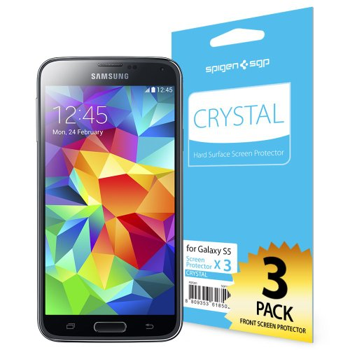 Spigen Schutzfolie für Samsung Galaxy S5 LCD Film Crystal CR Display Schutz Folie Screen Protector für Samsung Galaxy S5 [SGP10722] Screen Protector Crystal Blue