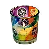 Portalumino in vetro con immagine dei 7 Chakra 6x5 cm. Adatto per candele votive e lumini