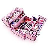 Ovonni Caja profesional de tren de maquillaje portátil, artista Caja de almacenamiento de aluminio organizador con cerradura cosmética con divisores ajustables 4 bandejas, rosa
