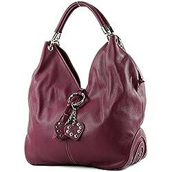 modamoda de - shopper sac à main en cuir italien sac à bandoulière 330, Couleur:Bordeaux red