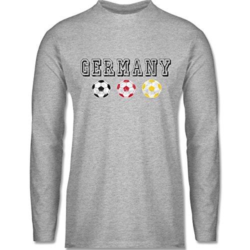 EM 2016 - Frankreich - Germany mit Fußbälle Vintage - Longsleeve / langärmeliges T-Shirt für Herren Grau Meliert