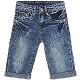 Jungen Shorts Cargo Kurze Hose Bermuda Kinder Capri Vintage Jeans Strech 21301, Farbe:Blau;Größe:128