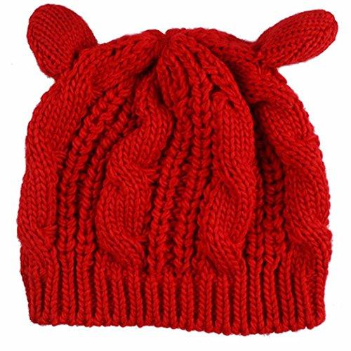 Malloom Oeufs de chèvre Fleurs de chanvre Chapeau tricoté Rouge