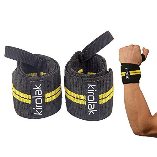 Handgelenk Wraps Weight Lifting Professionelle Qualität Wrist Straps Support, KIROLAK Elastische Hand Stärke und Unterstützung für Bodybuilding, Crossfit, Powerlifting - Gelb