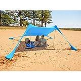 MENCOM Tenda da Spiaggia con Sabbia Anchors e Bastone - 100% Lycra SunShelter Tettuccio Parasole con Protezione UV 210 x 210 CM per Campeggio Esterno Pesca Picnic