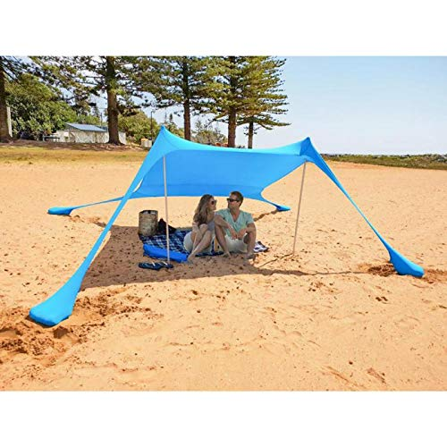 Mencom Beach Zelt,Strandzelt mit Sandsäckenankern,  85 '' x 85 '' Lycra Perfekter Sonnenschutz mit UV-Schutz für Kinder und Familien am Strand, Parks, Camping und im Freien-Blau -