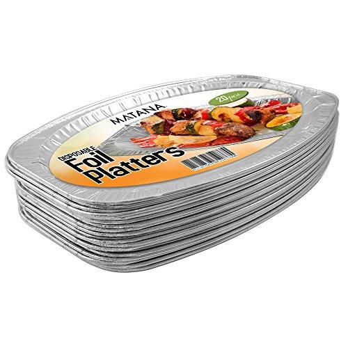 20 Servierplatten, oval aus Aluminium, servierplatte einweg , perfekte Aluschalen für Hochzeit, Catering, Gastro oder Party (35 x 23 cm)