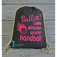 Sportbeutel Mädchen Handball Turnbeutel mit Spruch/Gymbag / Jutebeutel/Rucksack